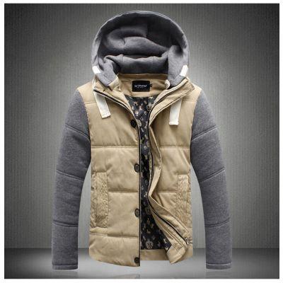 Veste matelassée pour homme hiver à capuche avec contraste manches