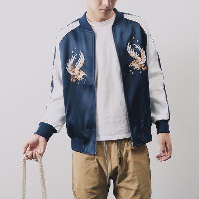 Veste satinée bleu marine vintage sport pour homme avec broderie aigles