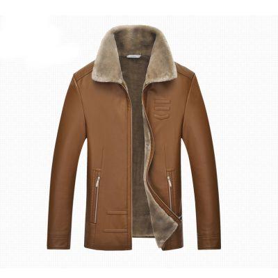 Veste simili cuir lisse avec doublure intérieure fourrure pour homme