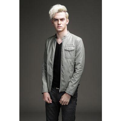 Veste simili cuir minimaliste homme avec poche poitrine