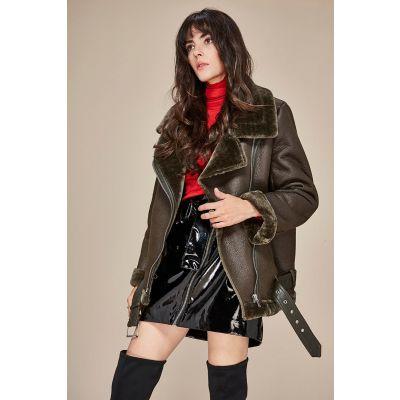 Veste simili cuir perfecto avec fourrure intérieure pour femme