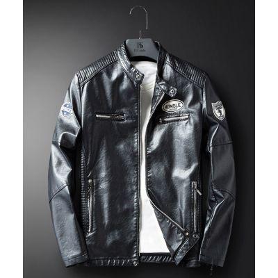 Veste simili cuir racing pour homme avec badges brodées poitrine et manche