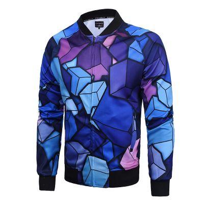 Veste sport pour homme slim avec motif géométrique à fragment bleu