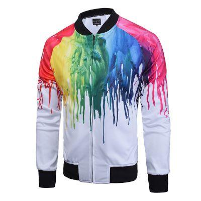 Veste sport slim pour homme avec motif peinture colorée fraiche