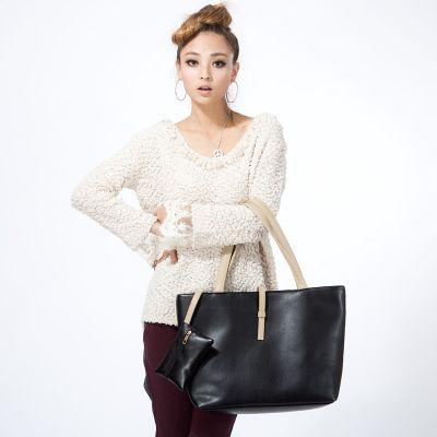 Grand sac à main en cuir PU avec mini portefeuille attaché