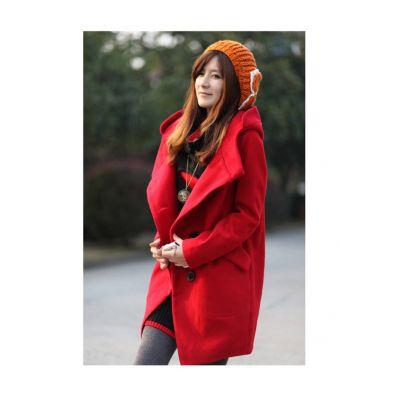 Manteau duffle en laine pour femme avec large capuche