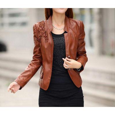 Blouson simili cuir pour femmes avec épaules motif à carreaux