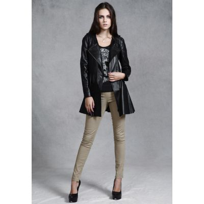 Manteau cintré long en vrai cuir de mouton pour femme avec fermeture éclaire