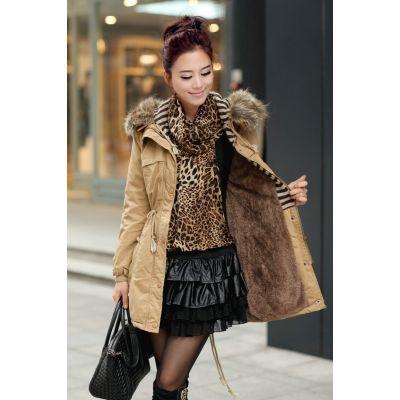 Manteau long avec capuche fausse fourrure pour femme