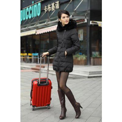Manteau d'hiver pour femme avec bordure col en fausse fourrure