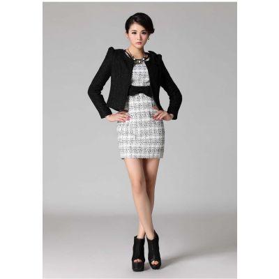 Blazer court pour femme en laine brute fashion automne hiver