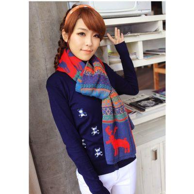 Echarpe hiver fashion avec motif hiver rétro cerf étoiles