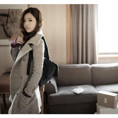Manteau hiver long pour femme en laine synthétique avec double boutonnage