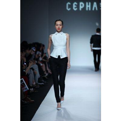 Pantalon pour femme avec plis taille haute tendance bureau - beige ou noir