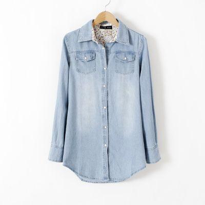 Chemise en jeans pour femme blouse avec double poches poitrine