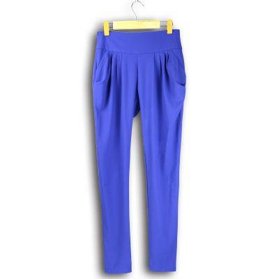 Pantalon stretch en coton pour femme taille haute avec poches côté
