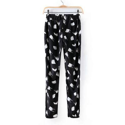 Pantalon Chiffon pour Femme avec Petits Carrés Blancs