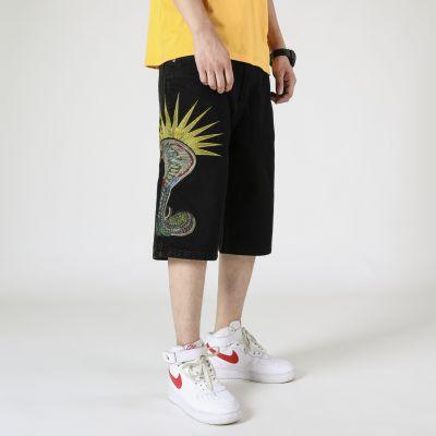 Shorts en jean ample avec broderie spéciale