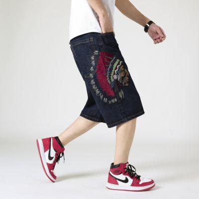 Bermuda short en jean avec imprimé indien américain et grandes tailles