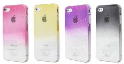 Etui pour iPhone 4 4S protection anti-choc goutellettes bicolore