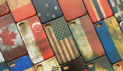 Etui pour iPhone 4 4S retro design drapeaux protection plastique