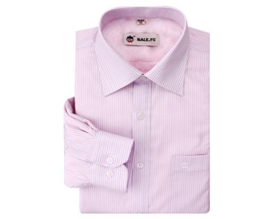 Chemise pour homme rose à rayures blanches fines – manches longues