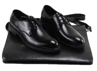Chaussures pour costume en cuir classiques avec lacets - noires