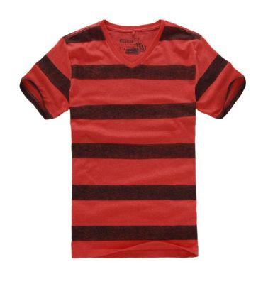 T Shirt col V pour homme à rayures larges rouges et bordeaux