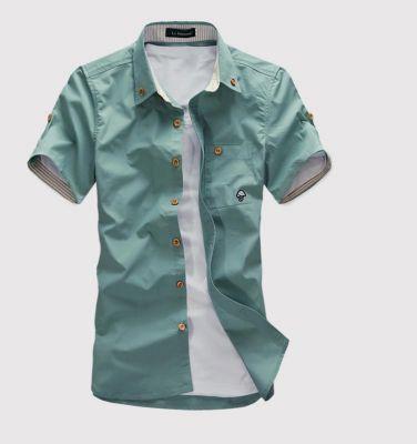 Chemise à manches courtes pour homme à couleur unie - blanc rouge vert