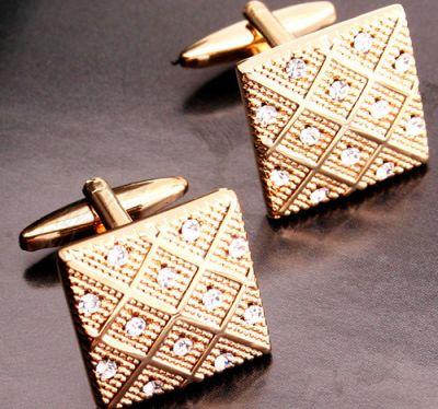 Boutons de manchettes bling avec écossais or et petites pierres