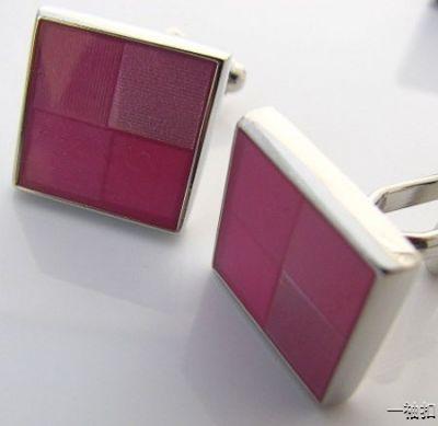 Boutons de manchette carrés colorés avec bordure argent
