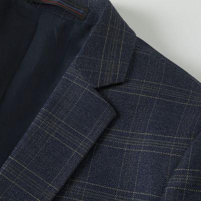 Costume trois  pièces modèle slim fit à carreaux vintage bleu foncé