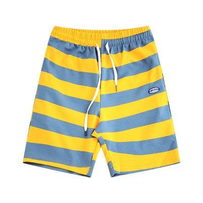 Baggy Short de bain rayé pour homme taille élastique couleur de contraste poches côtés