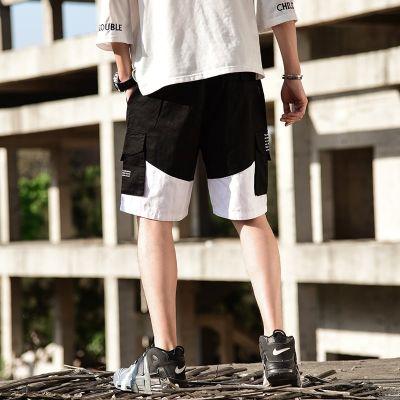Bermuda baggy cargo pour homme en coton shorts de bain poches des deux côtés couleur contrastante