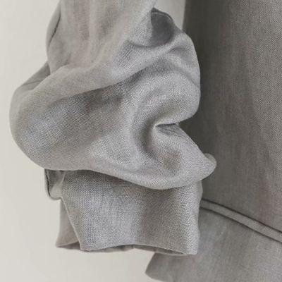 Blazer gris en lin pour femme avec manches retroussées et lapel fin