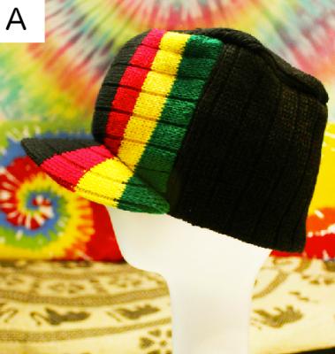 Bonnet Casquette Rasta Droit avec Bande Tricolore Vert Jaune Rouge Reggae