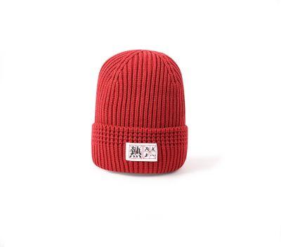 Bonnet en laine pour femme et homme avec écriture japonaise