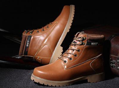 Boots Hiver Cuir Homme Vintage avec Intérieur Fourrure