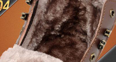 Bottines Hiver en Cuir pour Homme avec Fourrure Intérieur Vintage