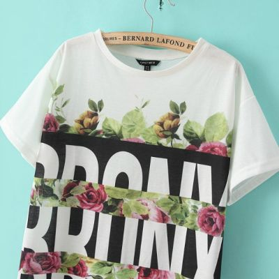 T shirt Oversize pour Femme Bronx Imprimé Motif à Fleur