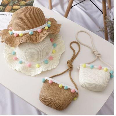 Chapeau de paille tissé à la main pour enfants avec pompom de couleurs