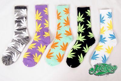 Chaussettes Weed Feuille de Ganja Cannabis Colorées