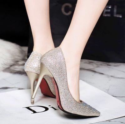 Chaussures à talon effet paillettes brillantes simili cuir