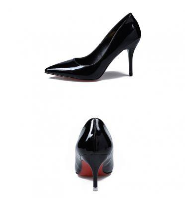 Chaussures à talon mi-haut avec embout pointu simili cuir