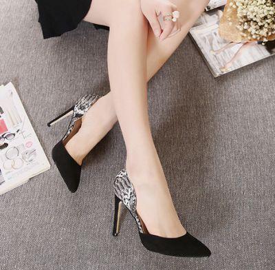 Chaussures à talon pointues avec empiècement talon reptile