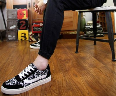 Chaussures Motif Fleurs Toile Eté pour Homme Palmier Fleuri - Noir