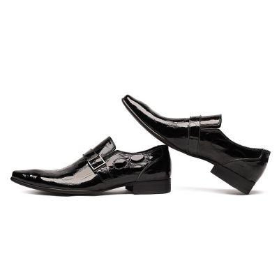 Chaussures de costume écailles en cuir noir fermeture à boucle