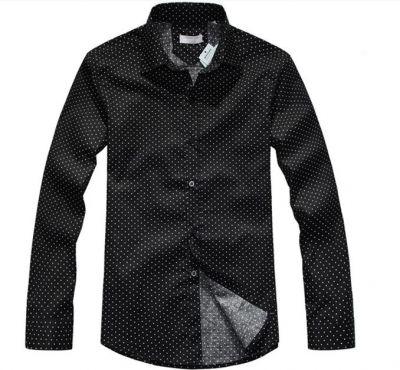 Chemise à Pois Manches Longues pour Homme Noir et Blanc