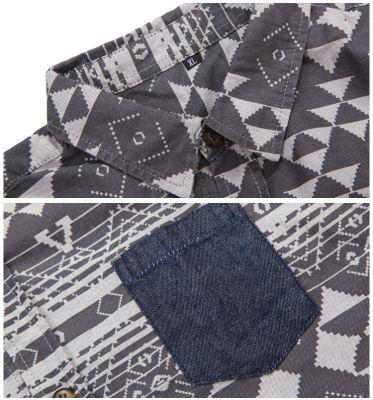 Chemise Chambray Motif à Triangles Brodés pour Hommes