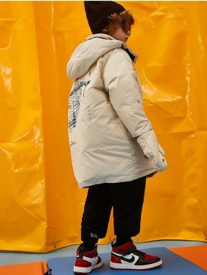 Doudoune à capuche chaude longue pour garçon avec quatre poches avant